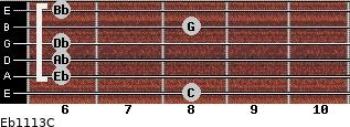 Eb11/13/C for guitar on frets 8, 6, 6, 6, 8, 6