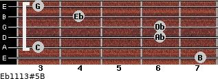 Eb11/13#5/B for guitar on frets 7, 3, 6, 6, 4, 3