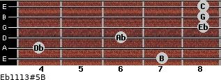 Eb11/13#5/B for guitar on frets 7, 4, 6, 8, 8, 8