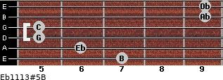 Eb11/13#5/B for guitar on frets 7, 6, 5, 5, 9, 9