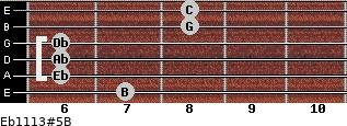 Eb11/13#5/B for guitar on frets 7, 6, 6, 6, 8, 8
