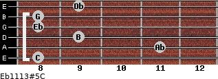 Eb11/13#5/C for guitar on frets 8, 11, 9, 8, 8, 9