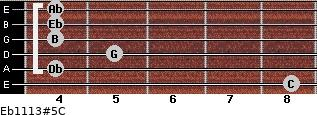 Eb11/13#5/C for guitar on frets 8, 4, 5, 4, 4, 4