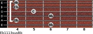 Eb11/13sus/Bb for guitar on frets 6, 4, 6, 5, 4, 4