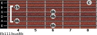 Eb11/13sus/Bb for guitar on frets 6, 4, 6, 6, 4, 8