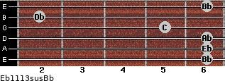 Eb11/13sus/Bb for guitar on frets 6, 6, 6, 5, 2, 6