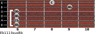 Eb11/13sus/Bb for guitar on frets 6, 6, 6, 6, 9, 8