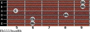 Eb11/13sus/Bb for guitar on frets 6, 6, 8, 5, 9, 9