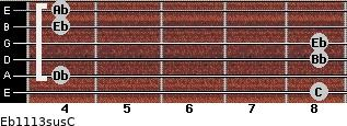 Eb11/13sus/C for guitar on frets 8, 4, 8, 8, 4, 4