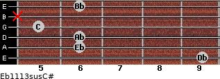 Eb11/13sus/C# for guitar on frets 9, 6, 6, 5, x, 6