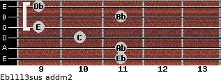 Eb11/13sus add(m2) guitar chord