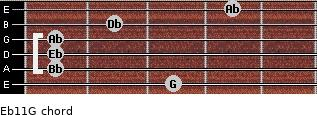 Eb11/G for guitar on frets 3, 1, 1, 1, 2, 4