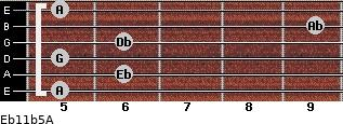 Eb11b5/A for guitar on frets 5, 6, 5, 6, 9, 5