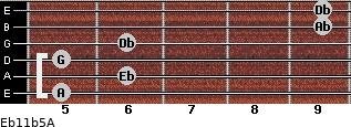Eb11b5/A for guitar on frets 5, 6, 5, 6, 9, 9