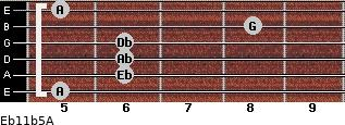 Eb11b5/A for guitar on frets 5, 6, 6, 6, 8, 5