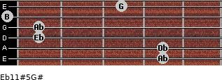 Eb11#5/G# for guitar on frets 4, 4, 1, 1, 0, 3