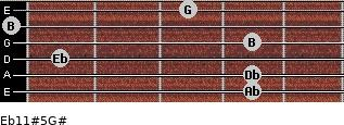 Eb11#5/G# for guitar on frets 4, 4, 1, 4, 0, 3