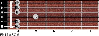 Eb11#5/G# for guitar on frets 4, 4, 5, 4, 4, 4