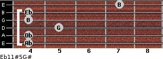 Eb11#5/G# for guitar on frets 4, 4, 5, 4, 4, 7