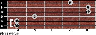 Eb11#5/G# for guitar on frets 4, 4, 5, 8, 8, 7