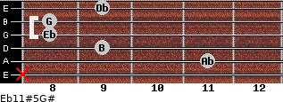 Eb11#5/G# for guitar on frets x, 11, 9, 8, 8, 9