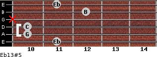 Eb13#5 for guitar on frets 11, 10, 10, x, 12, 11
