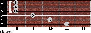 Eb13#5 for guitar on frets 11, 10, 9, 8, 8, 8