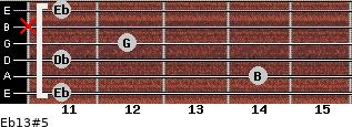 Eb13#5 for guitar on frets 11, 14, 11, 12, x, 11