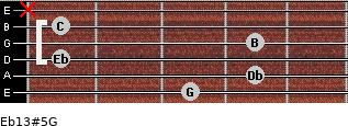 Eb13#5/G for guitar on frets 3, 4, 1, 4, 1, x