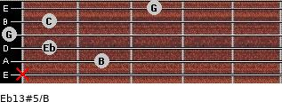 Eb13#5/B for guitar on frets x, 2, 1, 0, 1, 3