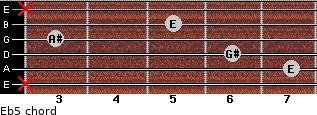 E(b5) for guitar on frets x, 7, 6, 3, 5, x