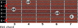 E(b5) for guitar on frets x, 7, 6, 3, x, 4