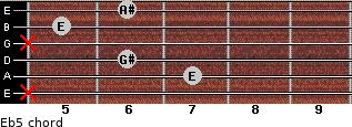 E(b5) for guitar on frets x, 7, 6, x, 5, 6