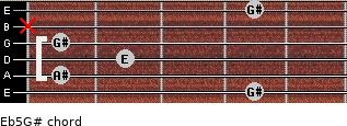 E(b5)/G# for guitar on frets 4, 1, 2, 1, x, 4