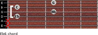 Eb6 for guitar on frets x, x, 1, 3, 1, 3