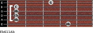 Eb6/11/Ab for guitar on frets 4, 1, 1, 1, 1, 3