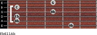Eb6/11/Ab for guitar on frets 4, 1, 1, 3, 1, 3