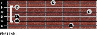 Eb6/11/Ab for guitar on frets 4, 1, 1, 5, 1, 3