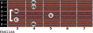 Eb6/11/Ab for guitar on frets 4, 3, 5, 3, 4, 4