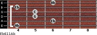 Eb6/11/Ab for guitar on frets 4, 6, 5, 5, 4, 6