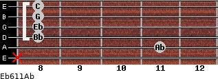 Eb6/11/Ab for guitar on frets x, 11, 8, 8, 8, 8