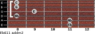 Eb6/11 add(m2) guitar chord