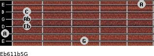 Eb6/11b5/G for guitar on frets 3, 0, 1, 1, 1, 5