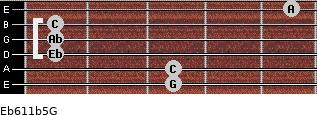 Eb6/11b5/G for guitar on frets 3, 3, 1, 1, 1, 5