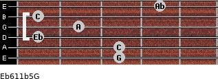 Eb6/11b5/G for guitar on frets 3, 3, 1, 2, 1, 4