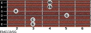 Eb6/11b5/G for guitar on frets 3, 3, 5, 2, 4, 4