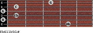 Eb6/11b5/G# for guitar on frets 4, 0, 1, 0, 1, 3