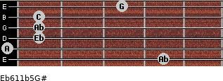 Eb6/11b5/G# for guitar on frets 4, 0, 1, 1, 1, 3
