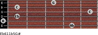Eb6/11b5/G# for guitar on frets 4, 0, 1, 5, 1, 3