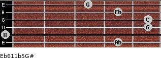 Eb6/11b5/G# for guitar on frets 4, 0, 5, 5, 4, 3